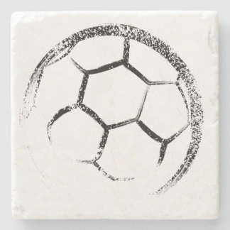 Grunge Style Soccer Design Stone Coaster