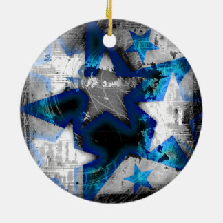 Grunge Style Stars Round Ceramic Decoration
