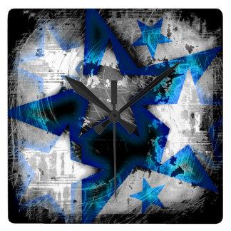 Grunge Style Stars Wall Clocks