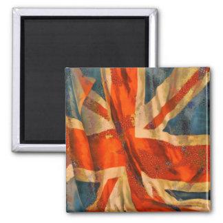 Grunge Style Union Jack British Flag Illustration Square Magnet