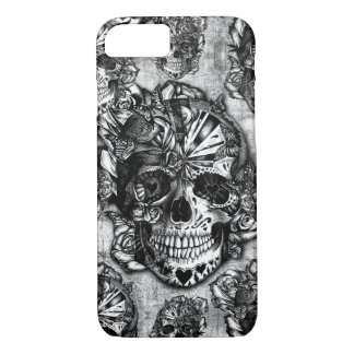 Grunge sugar skull pattern iPhone 7 case