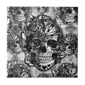 Grunge sugar skull pattern tile