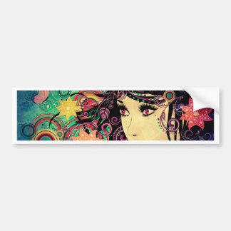 Grunge Summer Girl with Floral 3 Bumper Sticker