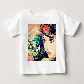Grunge Summer Girl with Floral 4 Baby T-Shirt