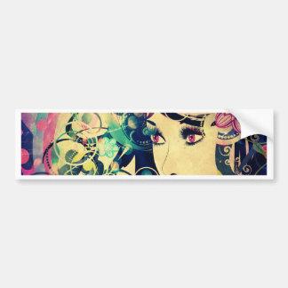 Grunge Summer Girl with Floral 4 Bumper Sticker