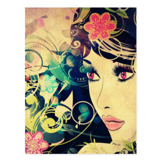 Grunge Summer Girl with Floral 4 Postcard