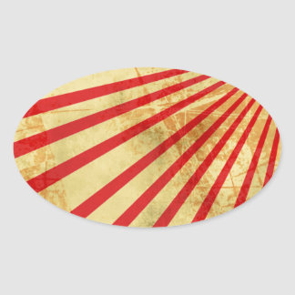Grunge sun. oval sticker