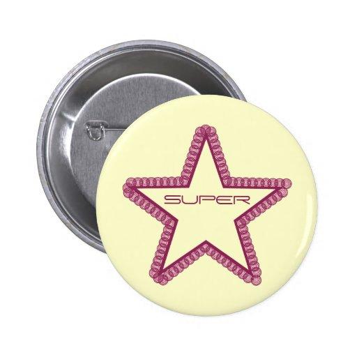 Grunge Superstar Button, Fuchsia