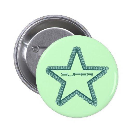 Grunge Superstar Button, Teal