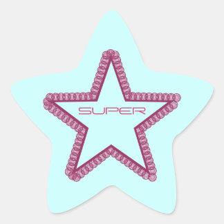 Grunge Superstar Star Stickers, Fuchsia Star Sticker