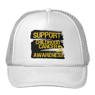 Grunge Support Childhood Cancer Awareness Mesh Hat