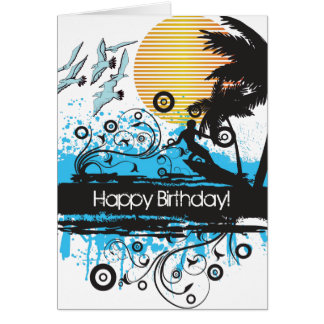 Grunge Surfing Beach Surfer Happy Birthday Card