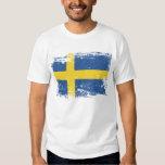 Grunge Sweden Flag Tee Shirt