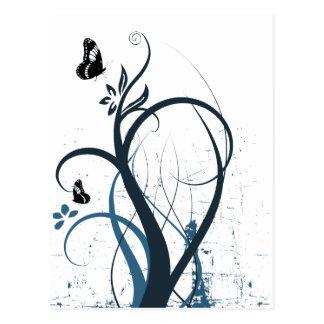 Grunge Swirl Butterfly 2 - Blue Postcard