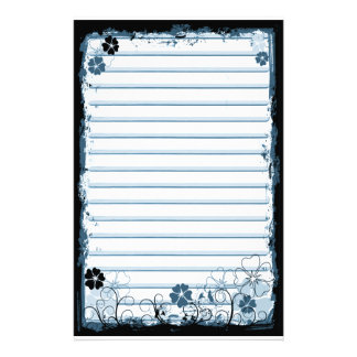 Grunge Swirl Flowers Lined Stationery White Blue