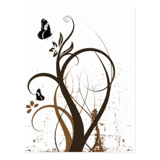 Grunge Swirls 2 Butterflies Brown Postcard