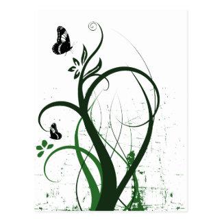 Grunge Swirls 2 Butterflies Green Post Card