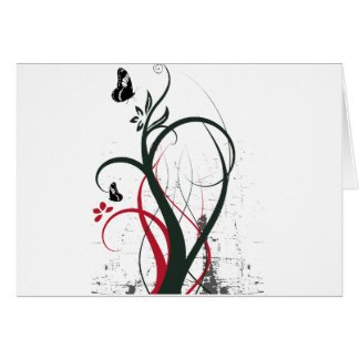 Grunge Swirls 2 Butterflies Original Black Red Greeting Cards