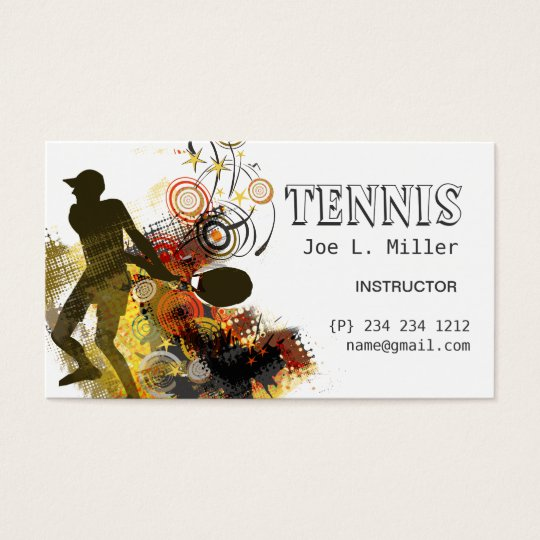 Grunge Swirls Tennis Player Business Card
