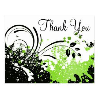 Grunge Swirls :: Thank You Postcard Template