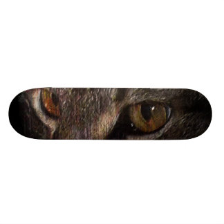 Grunge Tabby Cat Face in Shadow Skateboard Deck