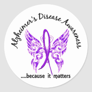 Grunge Tattoo Butterfly 6.1 Alzheimer's Disease Round Sticker