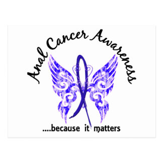 Grunge Tattoo Butterfly 6.1 Anal / Rectal Cancer Postcard