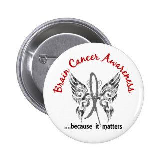 Grunge Tattoo Butterfly 6.1 Brain Cancer 6 Cm Round Badge