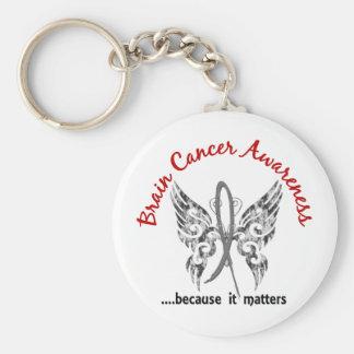 Grunge Tattoo Butterfly 6.1 Brain Cancer Basic Round Button Key Ring