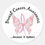 Grunge Tattoo Butterfly 6.1 Breast Cancer Round Sticker