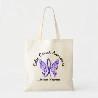 Grunge Tattoo Butterfly 6.1 Colon Cancer Budget Tote Bag