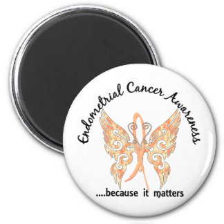 Grunge Tattoo Butterfly 6.1 Endometrial Cancer 6 Cm Round Magnet