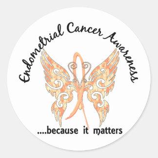 Grunge Tattoo Butterfly 6.1 Endometrial Cancer Round Sticker