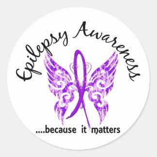 Grunge Tattoo Butterfly 6.1 Epilepsy Classic Round Sticker