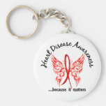 Grunge Tattoo Butterfly 6.1 Heart Disease Basic Round Button Key Ring