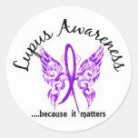 Grunge Tattoo Butterfly 6.1 Lupus Round Sticker