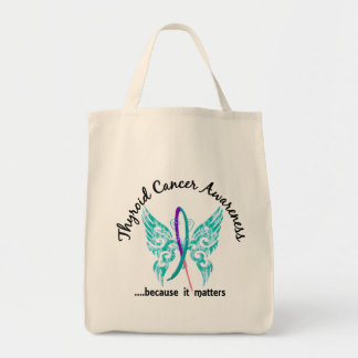 Grunge Tattoo Butterfly 6.1 Thyroid Cancer Grocery Tote Bag