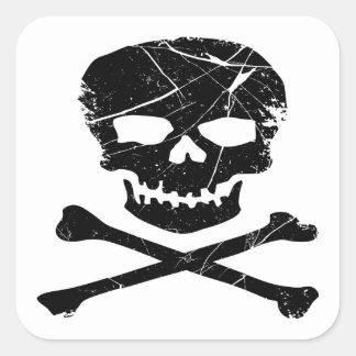 Grunge Tattoo Skull and Cross Bones Square Sticker