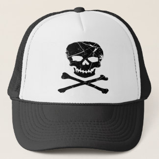 Grunge Tattoo Skull and Cross Bones Trucker Hat