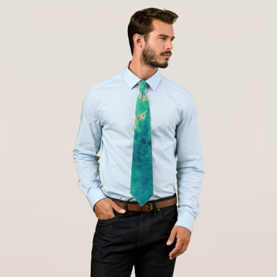 Grunge Teal Blue Aqua Green Pastel Abstract Tie