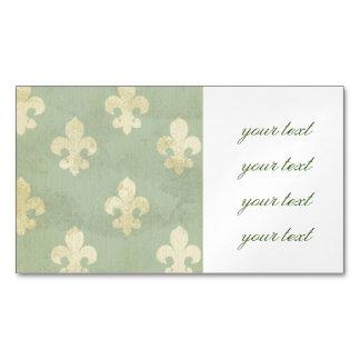 Grunge,teal,vintage,fleur de lis,pattern,victorian magnetic business cards