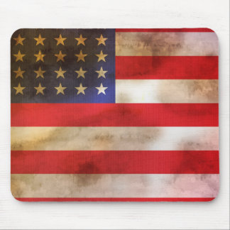 Grunge Textured American Flag Mouse Pad