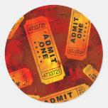 Grunge Tickets Classic Round Sticker