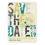 Grunge Tropical Beach Palms Photo Save The Date Personalised Invites