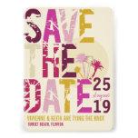 Grunge Tropical Beach Palms Photo Save The Date Custom Invitations