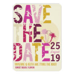 Grunge Tropical Beach Palms Photo Save The Date Custom Invitations