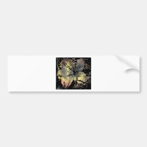 Grunge type flower bumper stickers