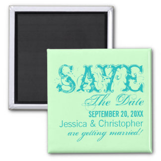 Grunge Typography Save the Date Magnet, Aqua Square Magnet