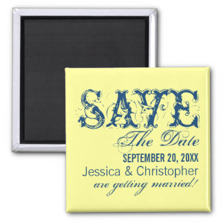 Grunge Typography Save the Date Magnet, Blue Square Magnet