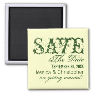 Grunge Typography Save the Date Magnet, Green Square Magnet